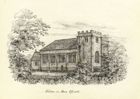 M.S. Smith, All Saints Church from North, Weston-on-Avon -1871 pen & ink drawing