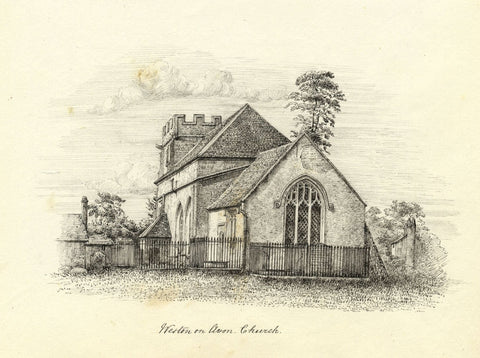 M.S. Smith, All Saints Church from East, Weston-on-Avon - 1871 pen & ink drawing