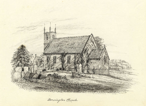 M.S. Smith, St Peter's Church, Dorsington, Stratford-upon-Avon -1871 ink drawing