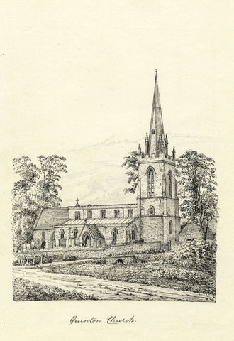 M.S. Smith, St Swithin's Church, Lower Quinton - c.1870 pen & ink drawing