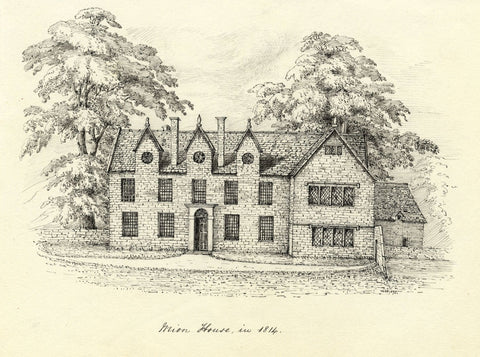 M.S. Smith, Mion House, Stratford-upon-Avon - 1870 pen & ink drawing
