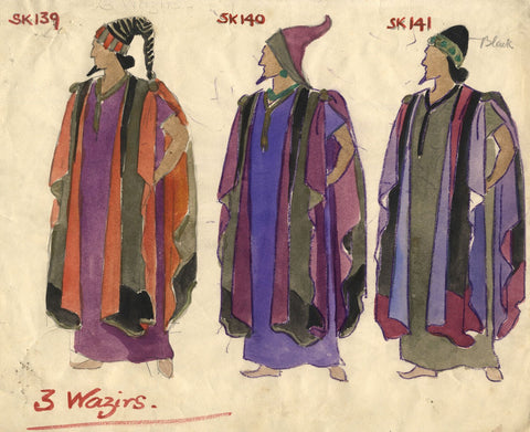 Costumier after Percy Anderson, Costume Design for 'Cairo' 1921: Cloaked Wazirs