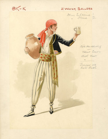 Attilio Comelli, Costume Design for 'Flying Colours' 1916: Water Sellers