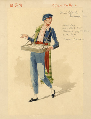 Attilio Comelli, Costume Design for 'Flying Colours' 1916: Cigar Sellers