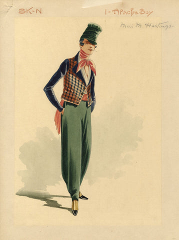 Attilio Comelli, Original Costume Design for 'Flying Colours' 1916: Apache Boy