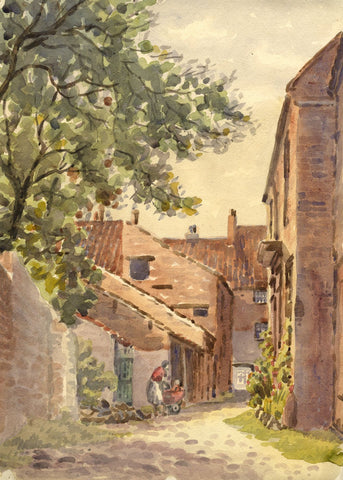 Arthur Simpson, Back Street Scene, Yarm - Original 1930s watercolour painting