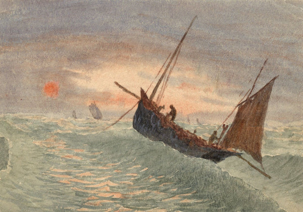 E. Venis, Fishing on Choppy Seas, Hastings Sunset -Late 19th-century watercolour