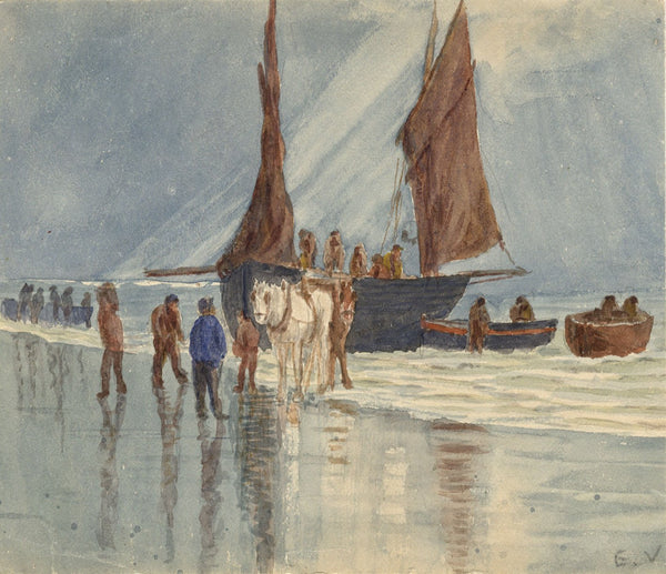 E. Venis, Landing Fishing Lugger by Horse, Hastings - 19th-century watercolour