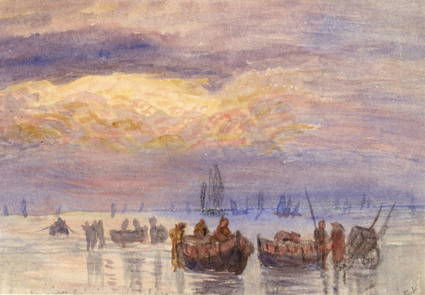 E. Venis, Fishing Boats on Beach, Sunset,Hastings -Late 19th-century watercolour