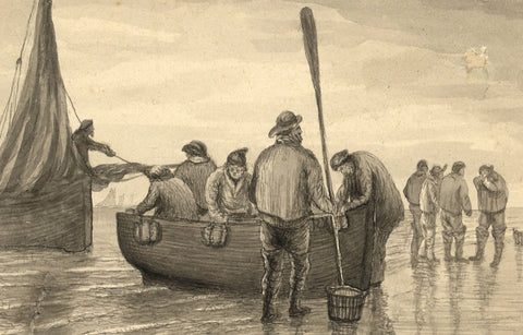 E. Venis, Fishermen, Hastings Beach - Late 19th-century watercolour painting