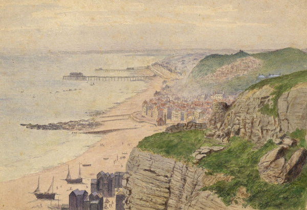 E. Venis, Hastings Coast with Pier & Net Shops - Late 19th-century watercolour