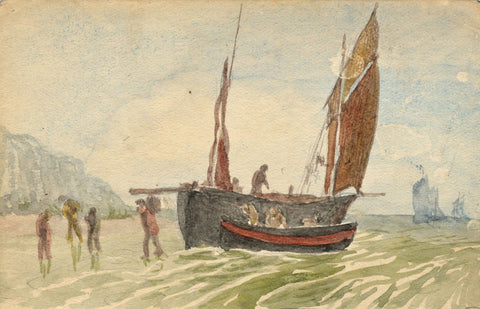 E. Venis, Unloading Fishing Lugger, Hastings - Late 19th-century watercolour