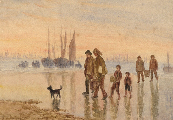 E. Venis, Fishermen Returning, Hastings - Late 19th-century watercolour painting
