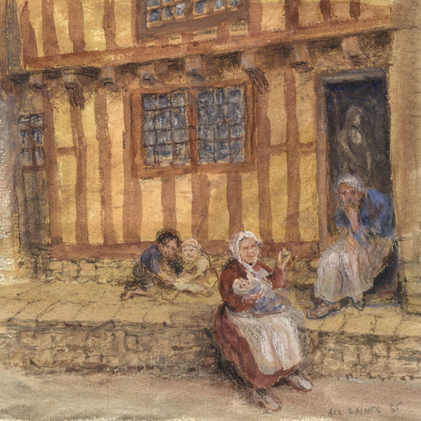 E. Venis, Family on All Saints Street, Hastings - Late 19th-century watercolour