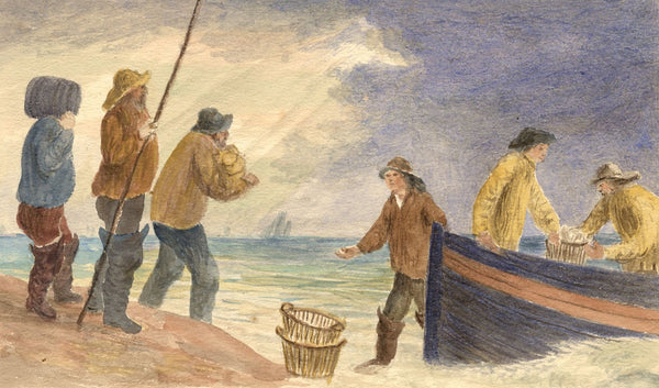 E. Venis, Fishermen Unloading Catch, Hastings - Late 19th-century watercolour