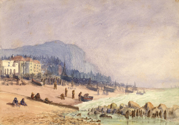 E. Venis, The Stade Beach & Net Shops, Hastings - Late 19th-century watercolour