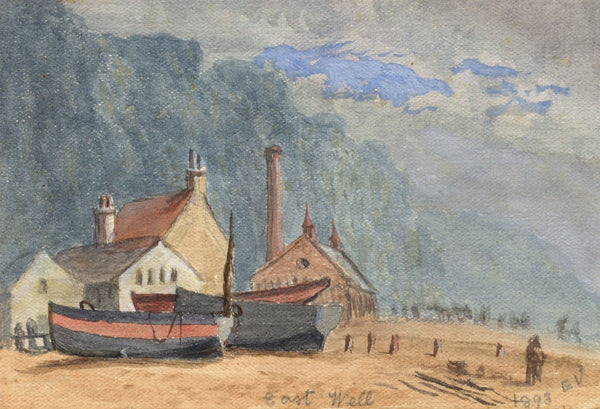 E. Venis, Fishermens Church, East Hill, Hastings - 1893 watercolour painting