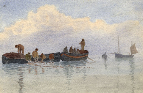 E. Venis, Casting Fishing Nets, Hastings -Late 19th-century watercolour painting