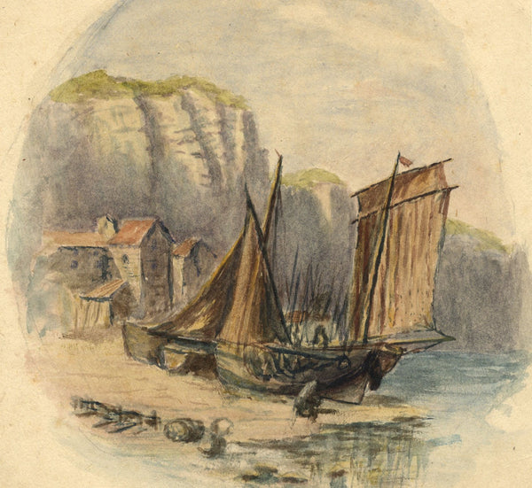 E. Venis, Old Tackle House & Beached Boats, Hastings - 19th-century watercolour