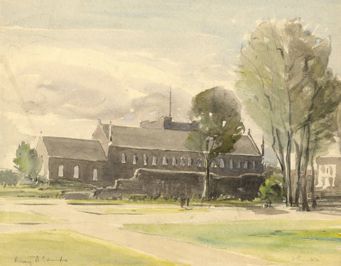 Walter Cristall, St Mary's Church, Bury St Edmunds -Early C20th watercolour