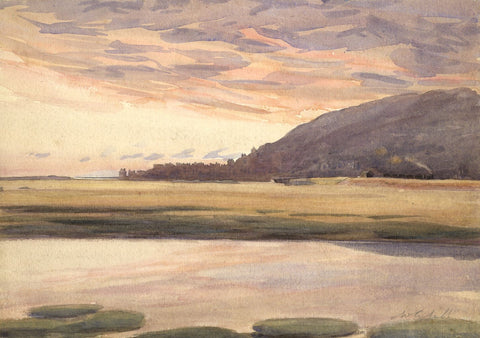 Walter Cristall, Estuary Waters, Sunset -Early 20th-century watercolour painting