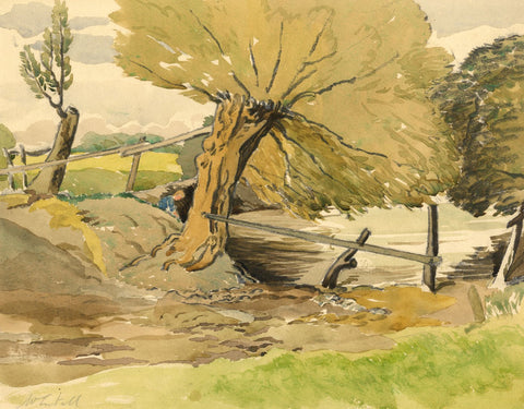 Walter Cristall, Rural Landscape with Figure - Early 20th-century watercolour