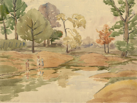Walter Cristall, Children Paddling - Early 20th-century watercolour painting
