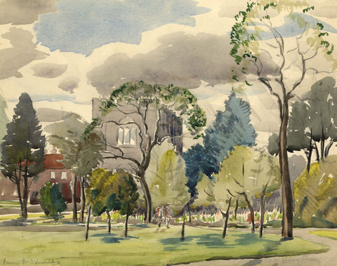 Walter Cristall, Norman Tower, Bury St Edmunds - Early 20th-century watercolour