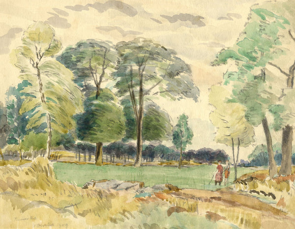 Walter Cristall, Pinner Hill Golf Club, Middlesex - 1949 watercolour painting