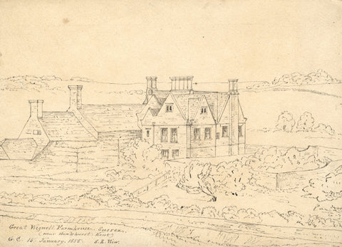 George Corson, Great Wigsell House, Salehurst, Sussex - 1855 pen & ink drawing