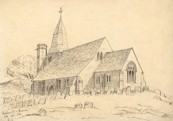 George Corson, St James Church, Ewhurst, Sussex - 1854 pen & ink drawing