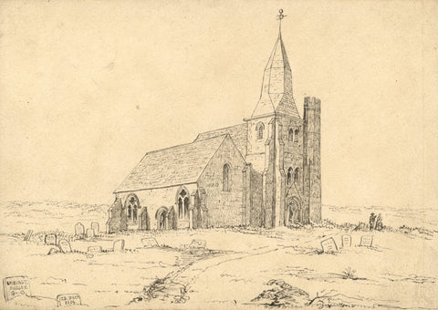 George Corson, St James Church, Ewhurst Green, Sussex - 1854 pen & ink drawing