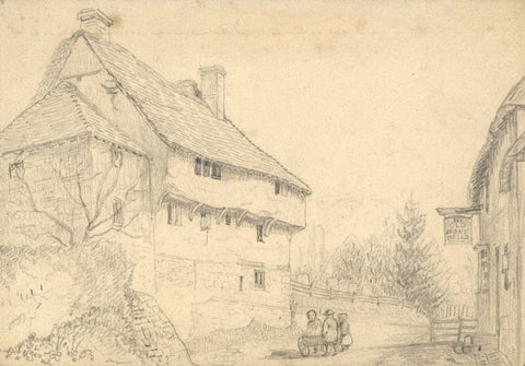George Corson, Old Eight Bells Inn, Salehurst, Sussex - 1855 graphite drawing