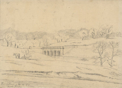 George Corson, Hampstead Heath Viaduct - Original 1854 graphite drawing