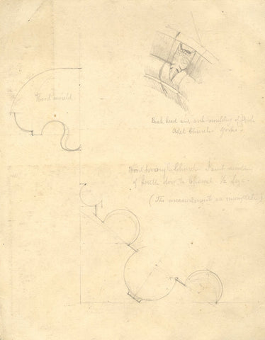 George Corson, Architectural Details, Adel Church- 19th-century graphite drawing