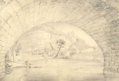 George Corson, River Nidd towards Priory Cliffs, Knaresborough - 1850 drawing