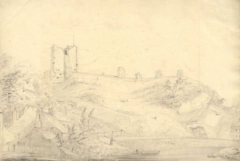 George Corson, Knaresborough Castle from Nidd, Yorkshire - 1850 graphite drawing
