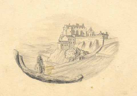 George Corson, Stirling Castle from Lady's Rock, Scotland -1845 graphite drawing