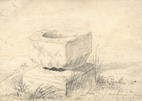 George Corson, Font in Old Kirkyard, Kirkcudbright Parish -1853 graphite drawing