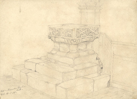George Corson, Font, St Peter's Church, Newenden, Kent - 1855 graphite drawing