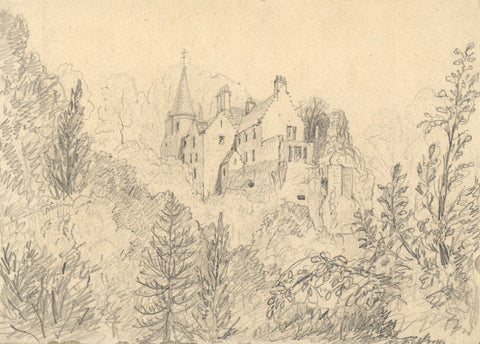 George Corson, Hawthornden Castle, Midlothian, Scotland - 1856 graphite drawing