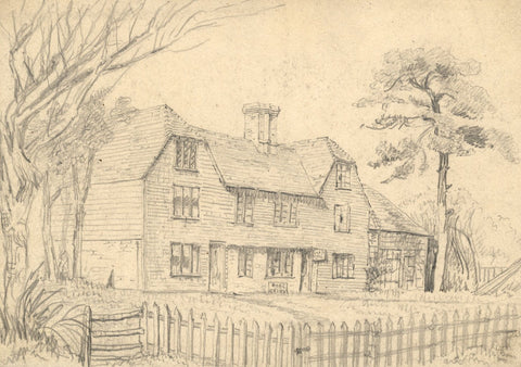 George Corson, Rose & Crown Inn, Hawkhurst, Kent - 1855 graphite drawing