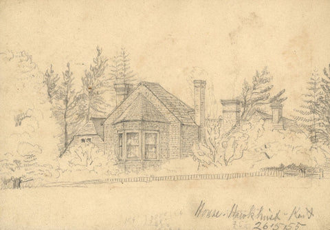George Corson, House at Hawkhurst, Kent - Original 1855 graphite drawing