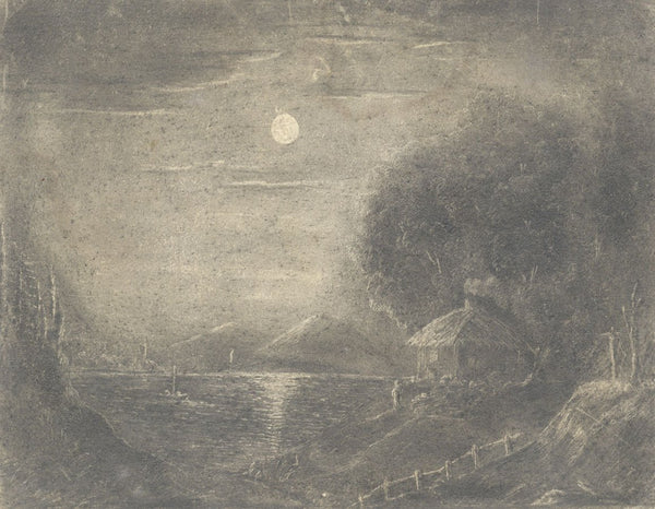 Alfred Swaine Taylor, Lake by Moonlight - Original c.1829 graphite drawing