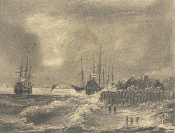 Alfred Swaine Taylor, Sailing Ships on Coast - Original c.1829 graphite drawing