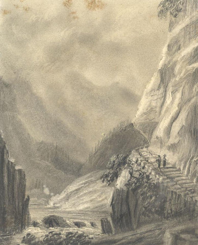 Alfred Swaine Taylor, Oberhasli, Thal, Switzerland - c.1829 graphite drawing