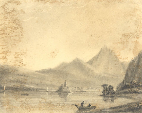 Alfred Swaine Taylor, Lake Lauerz, Switzerland - Original 1829 graphite drawing