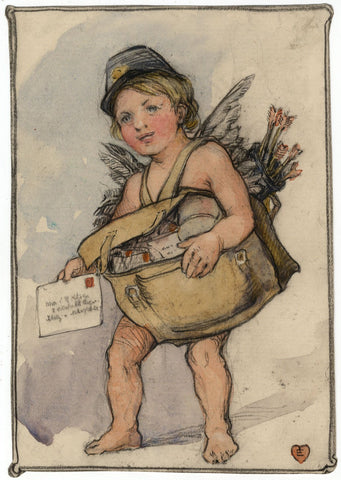 Ethel M. Mallinson, Valentine's Cupid for J.B. Kitson -1909 watercolour painting