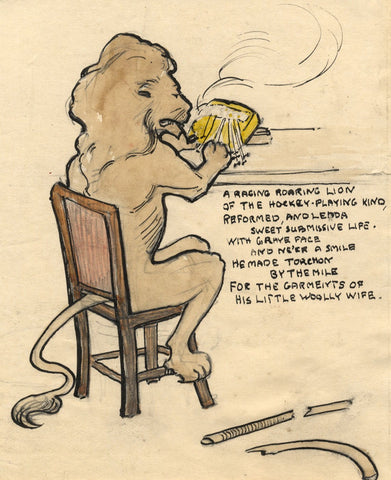 Ethel M. Mallinson, Humorous Lion Cartoon - Early 20th-century pen & ink drawing