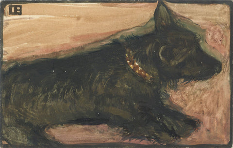 Ethel M. Mallinson, Resting Terrier Dog -Early 20th-century watercolour painting